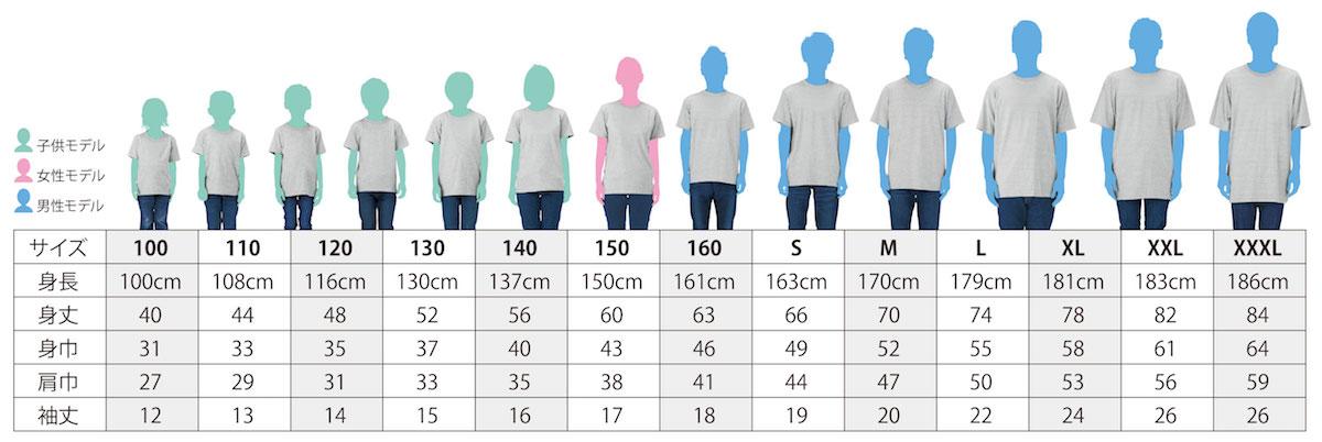 Tシャツサイズ一覧表